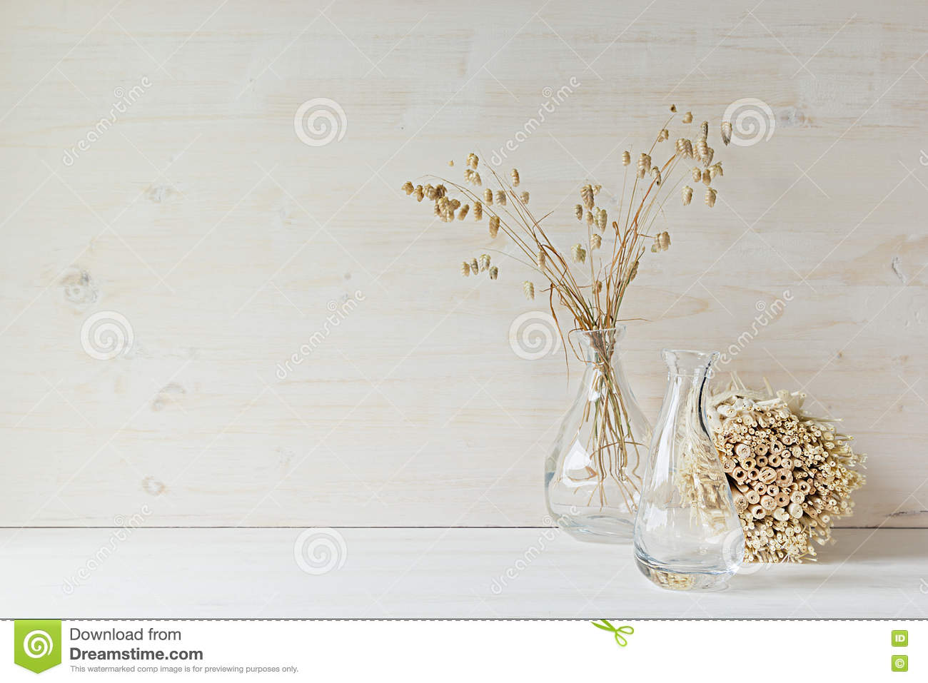 Soft Home Decor Of Glass Vase With Spikelets And Stalks On