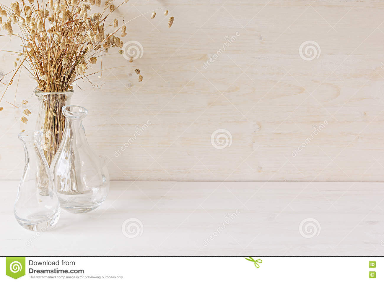 Soft Home Decor Of Glass Vase With Spikelets On White Wood