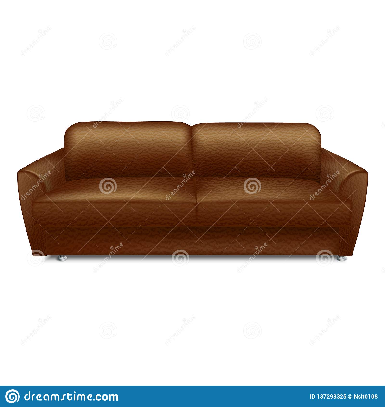 Outstanding Soft Leather Sofa Icon Realistic Style Stock Vector Dailytribune Chair Design For Home Dailytribuneorg