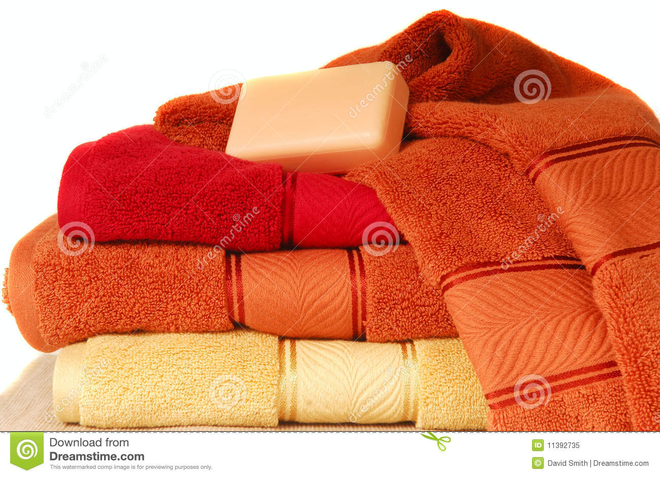 Soft Luxurious Towels With A Bar Of Soap Royalty Free ...