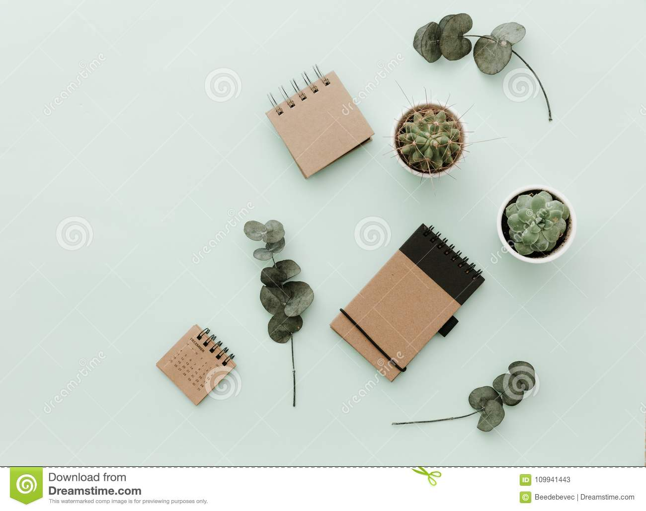 Soft Neutral Styled Desk Scenes With Cactus, craft eco notebooks