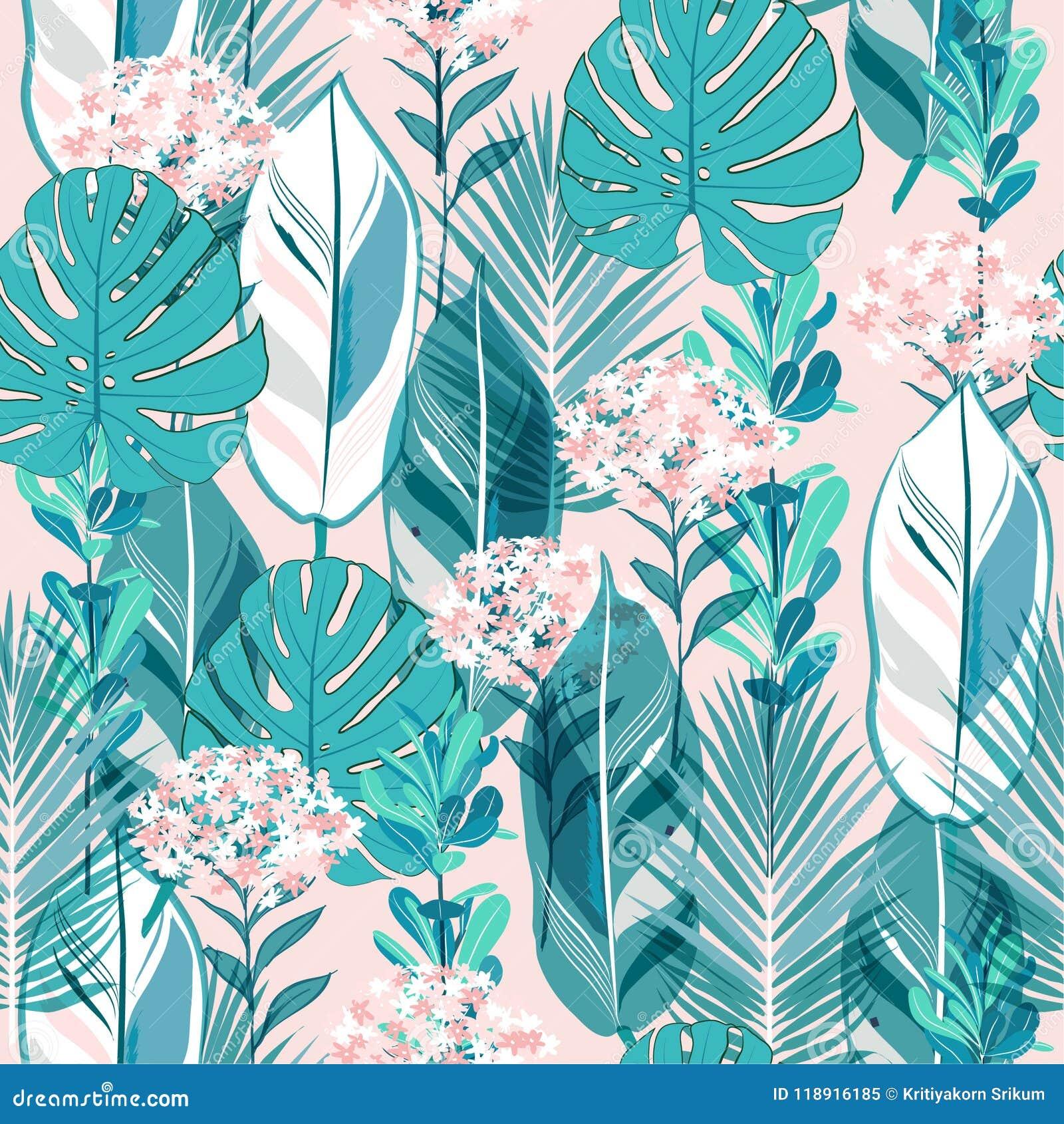Soft pastel botanical jungle leaves pattern, tropical seamless,