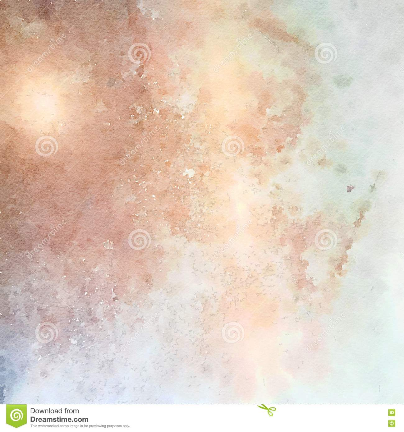 Soft pastel grungy abstract watercolor background in blue and brown