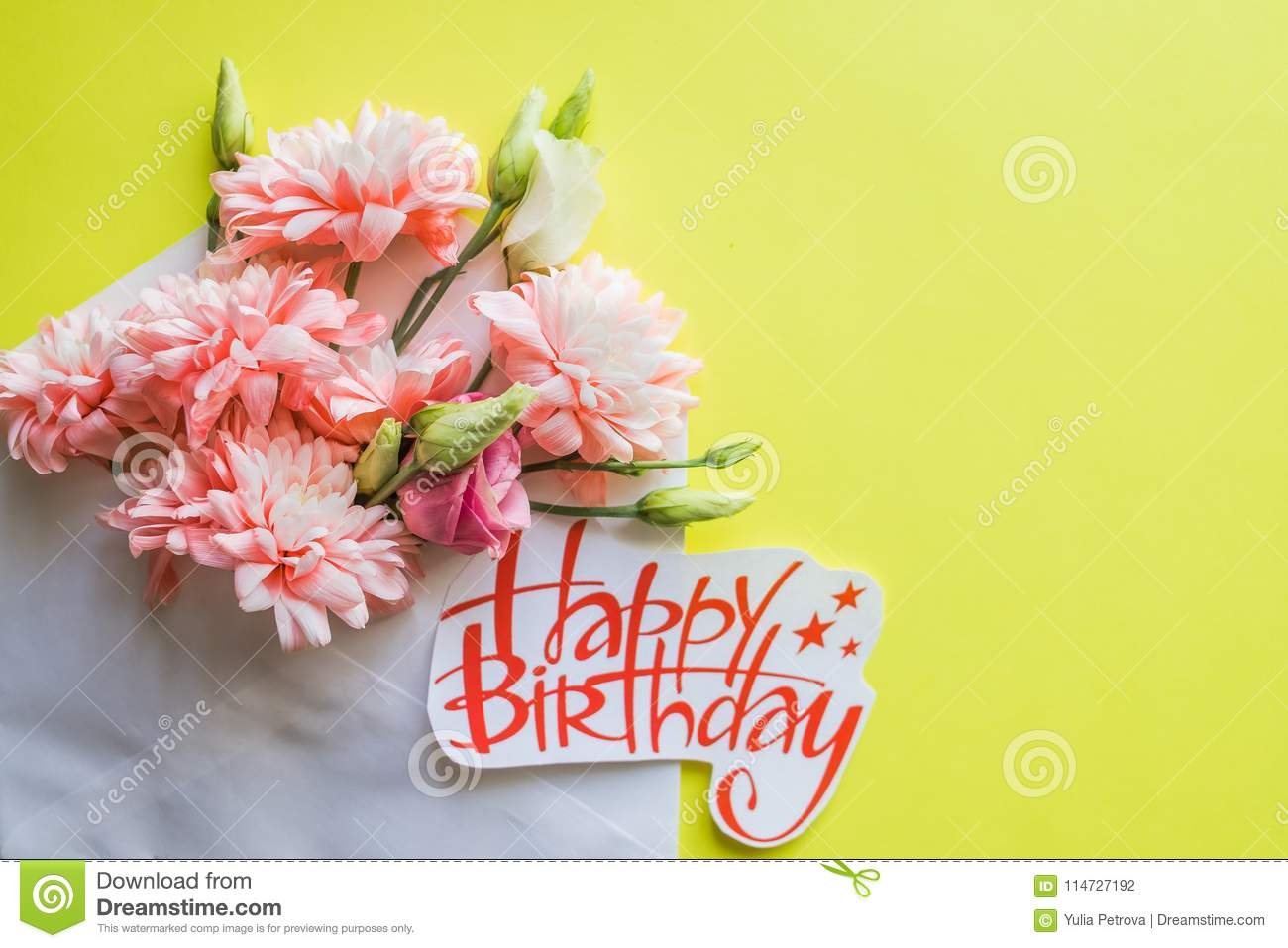Soft pink chrysanthemums and happy birthday poster beautiful soft pink chrysanthemums and happy birthday poster beautiful flowers card with spring bouquet izmirmasajfo