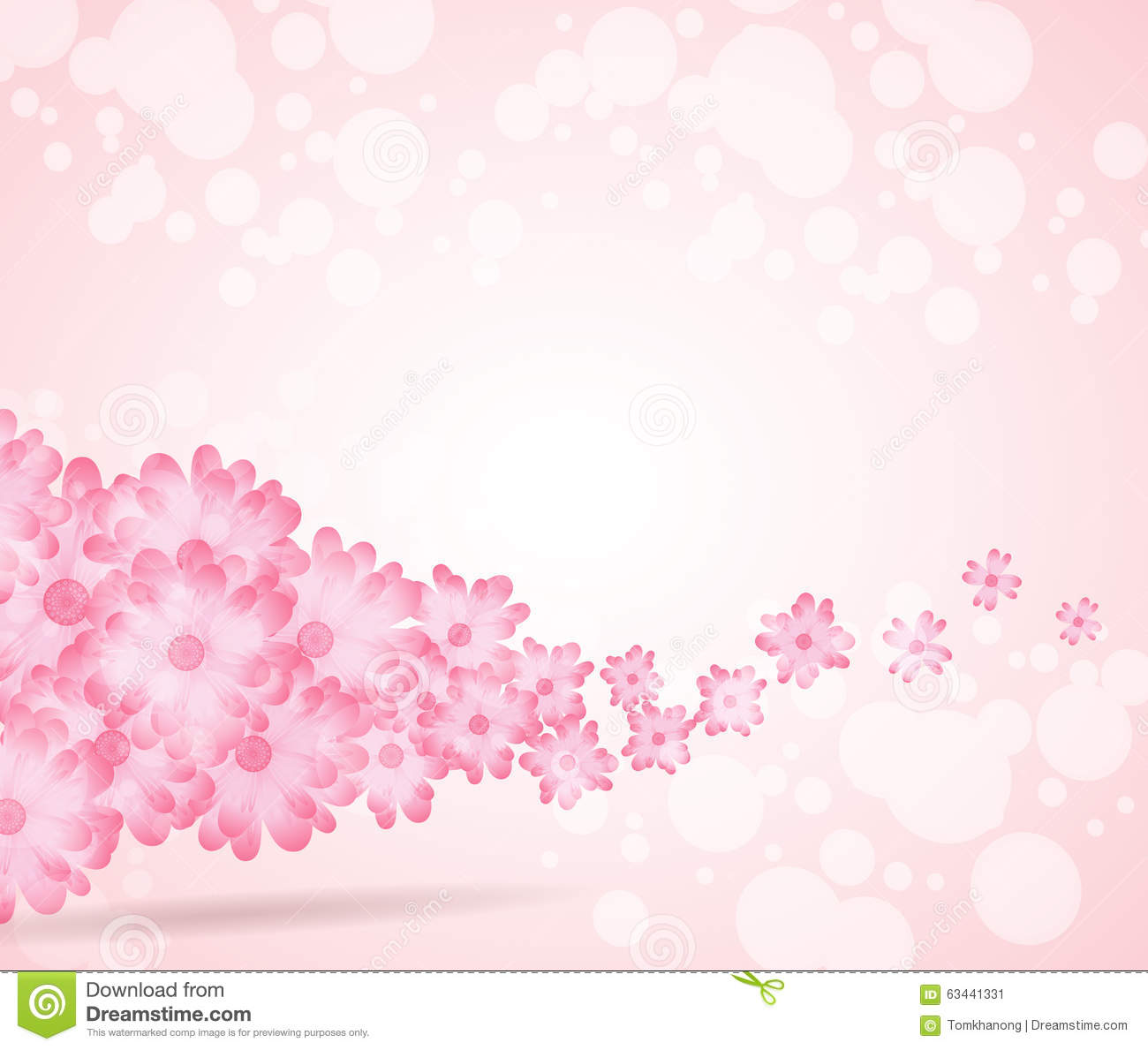 Soft Pink Flower Bright Wave From Left Side Background Stock Vector