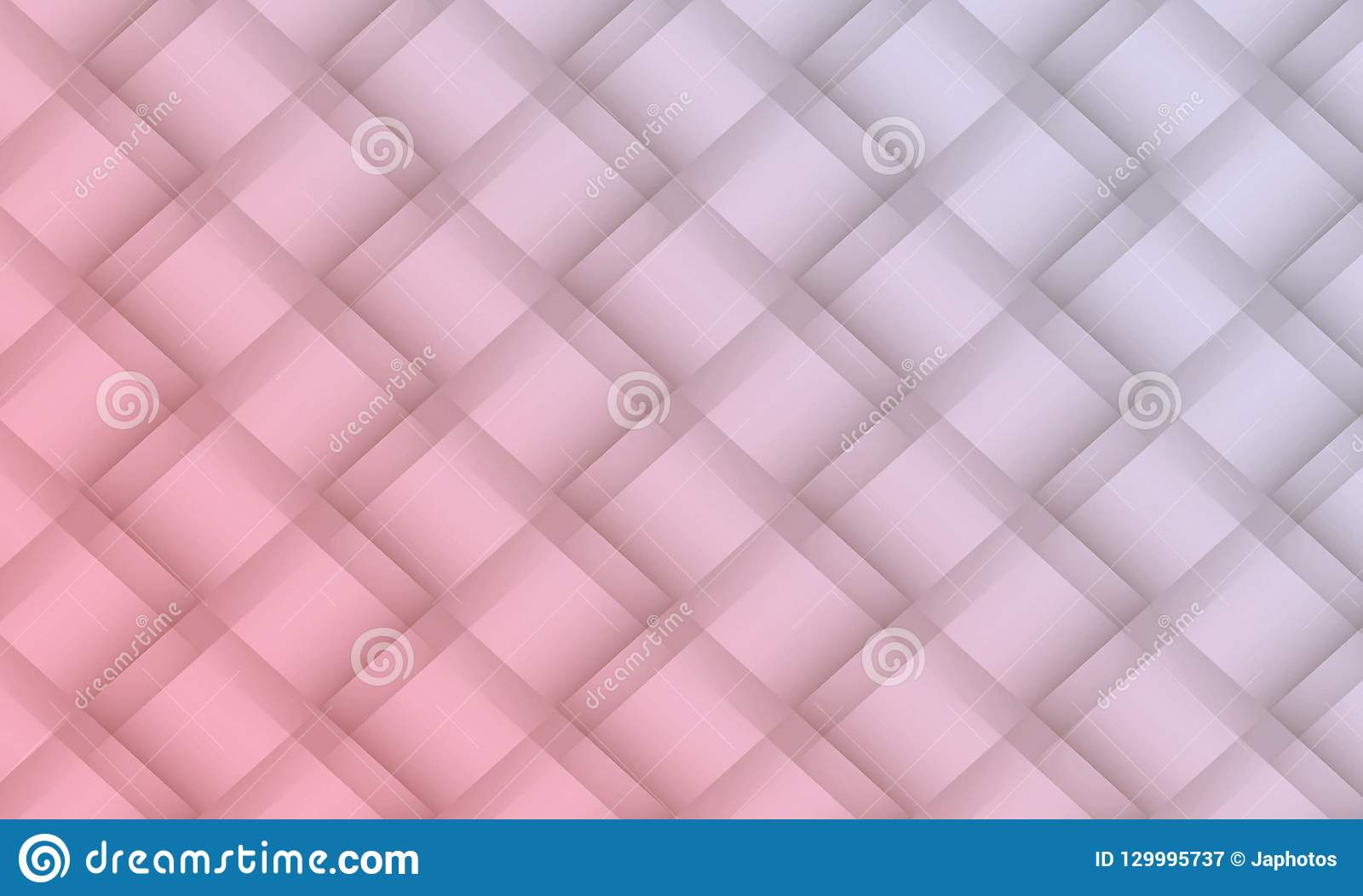 Soft pink and light gray diagonal geometric squares lattice abstract pattern background illustration