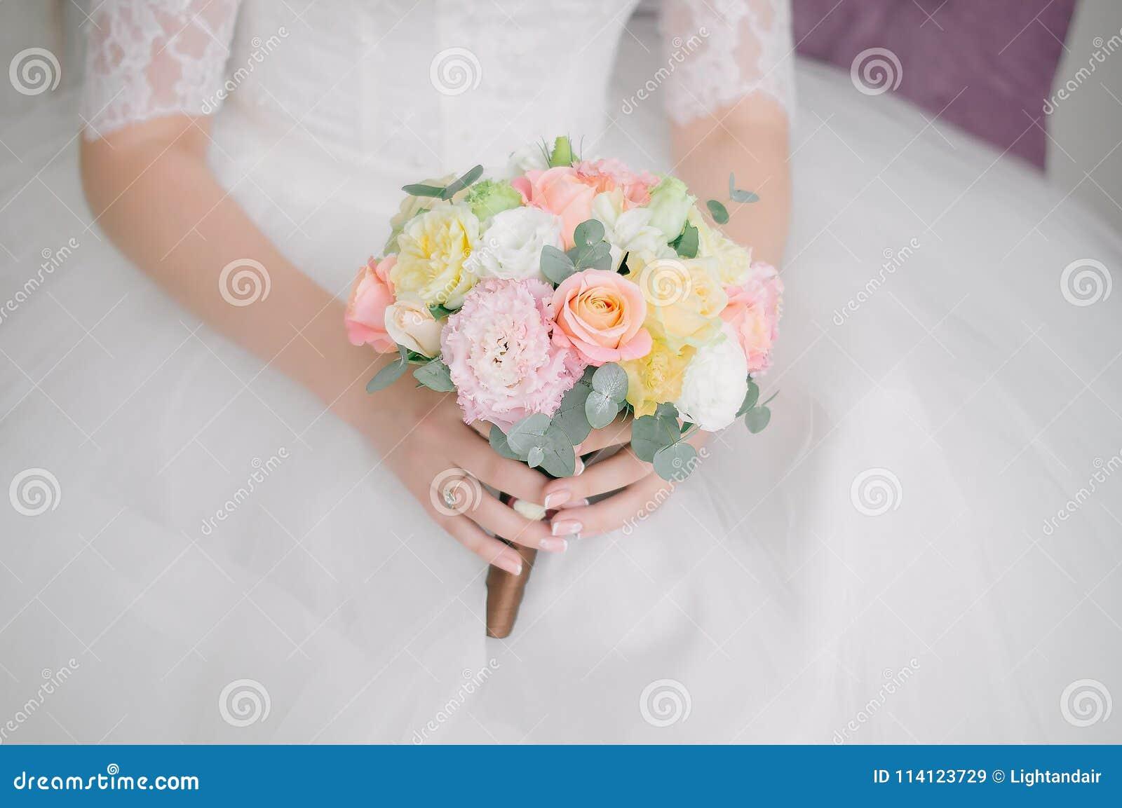 Posy Bridal Bouquet Of Eucalyptus Eustoma And Roses Stock Image