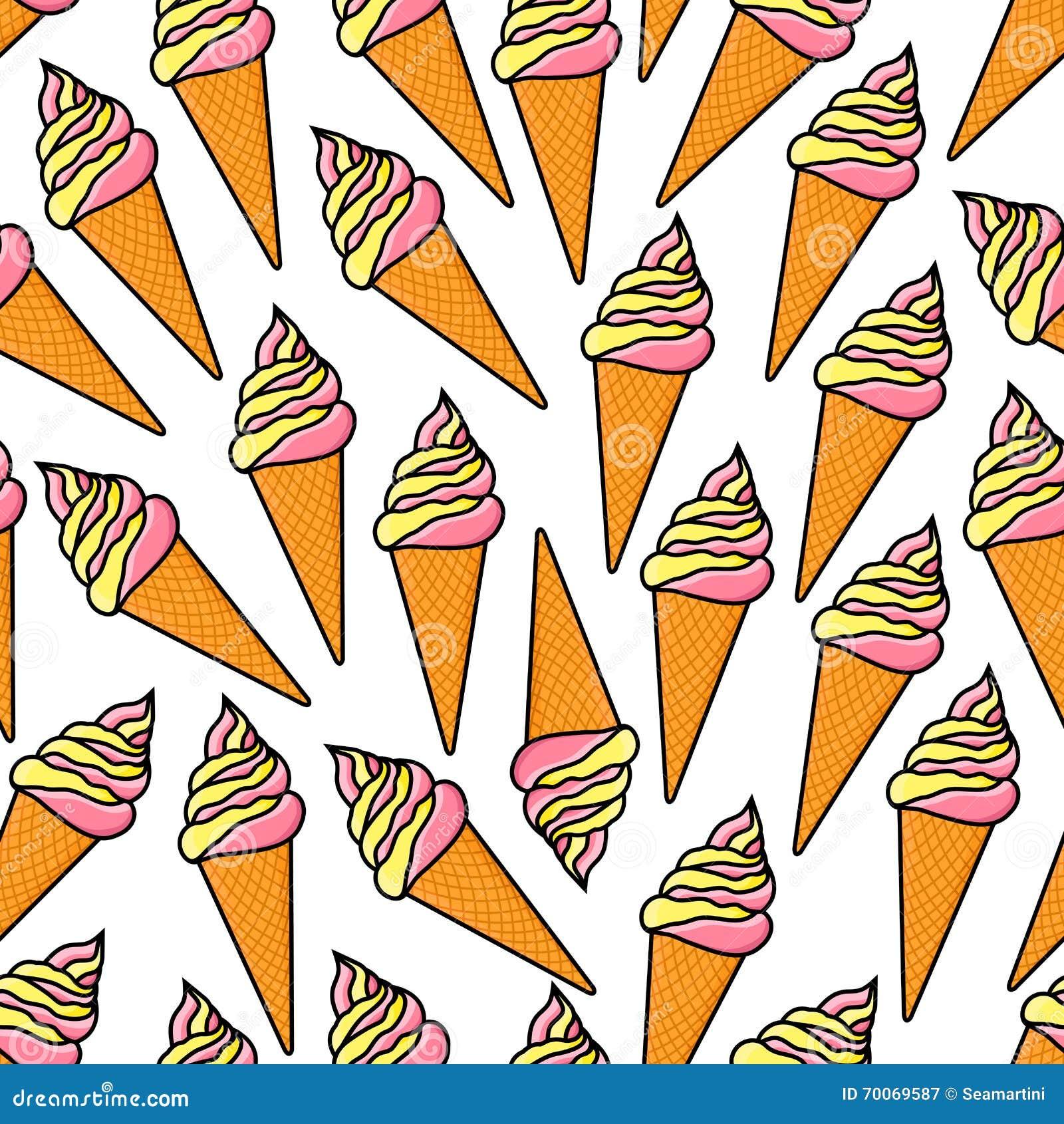 Seamless Ice Cream Background Vintage Style: Soft Serve Ice Cream Cones Retro Seamless Pattern Stock