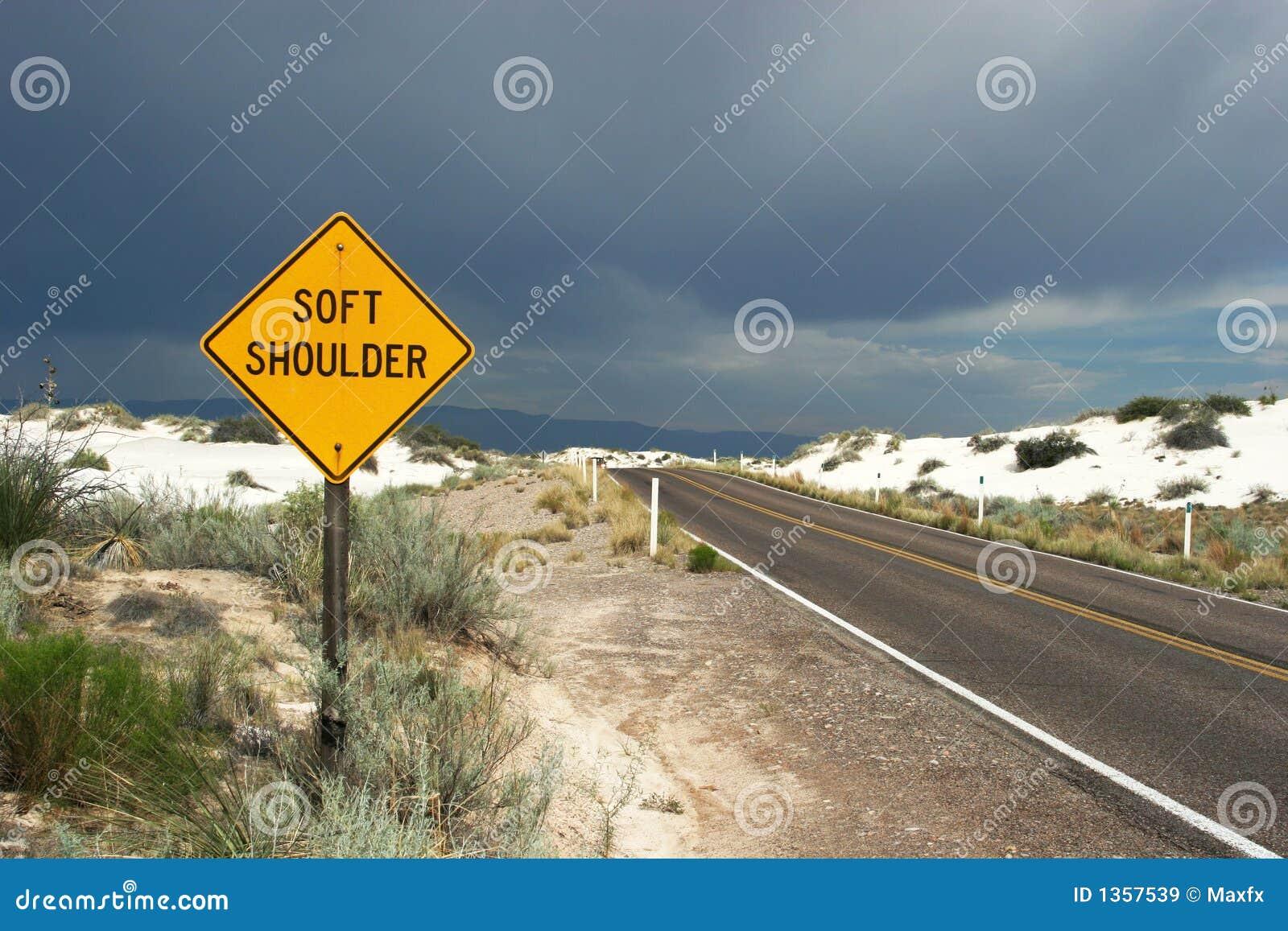 Soft shoulder traffic sign stock image. Image of highway ...