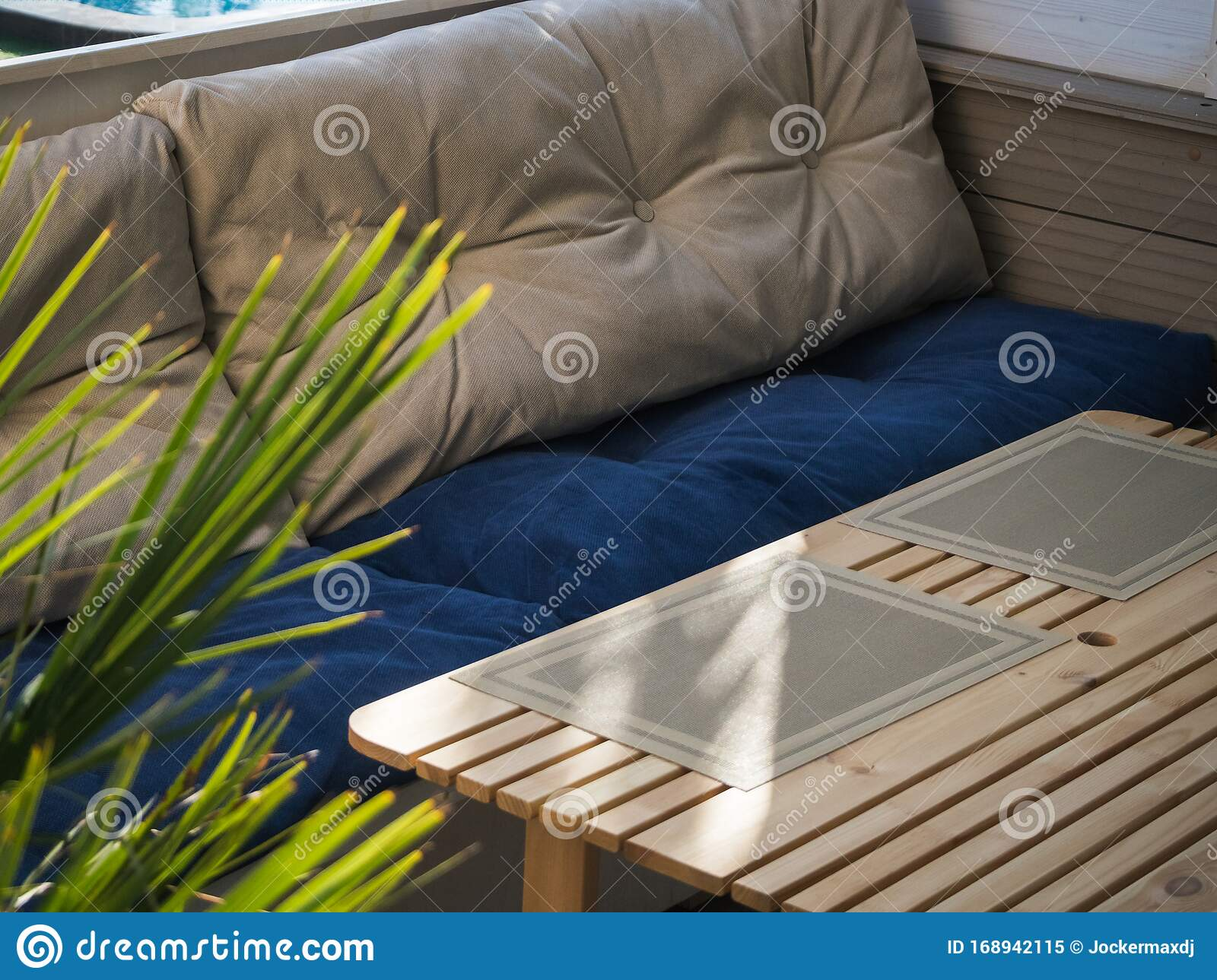 Soft Sofa And Table In An Outdoor Cafe With A Pool Stock Image Image Of Plant Background 168942115