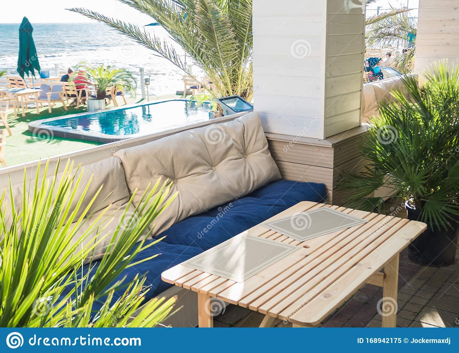 Soft Sofa And Table In An Outdoor Cafe With A Pool Stock Image Image Of Furniture Decor 168942175
