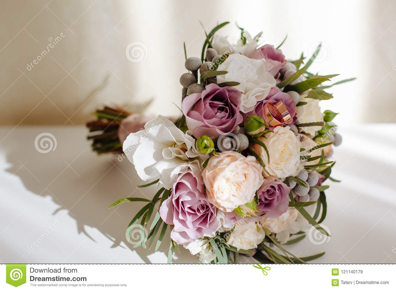 Soft And Tender Bridal Bouquet Of Roses Peonies And Greenery On White Table Stock Image Image Of Bohemia Decoration 121140179