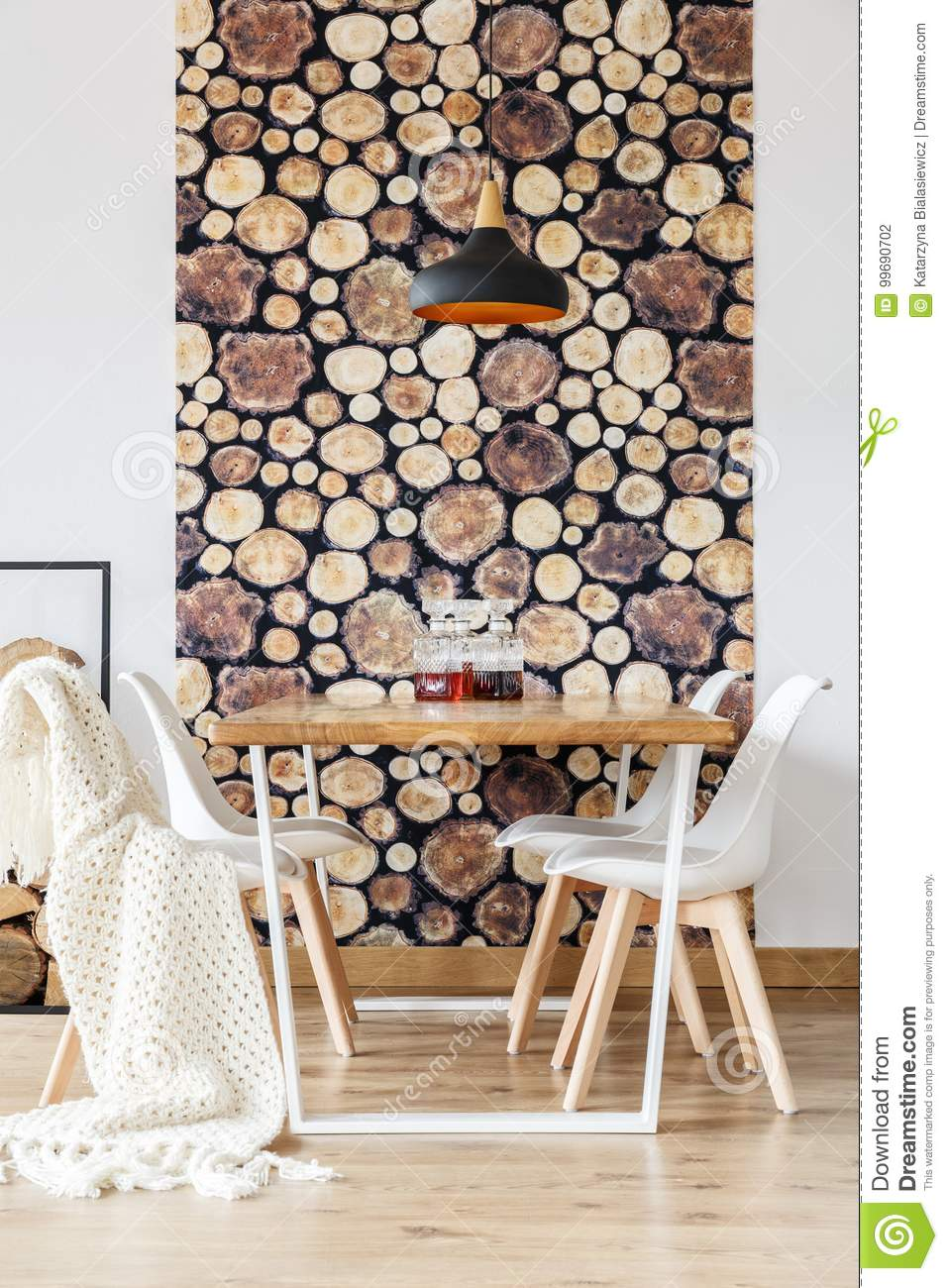 Soft textiles and log wallpaper