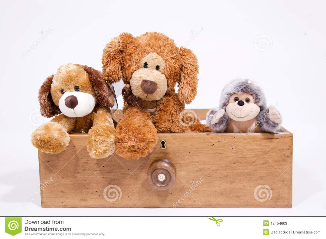 Soft toys in a draw