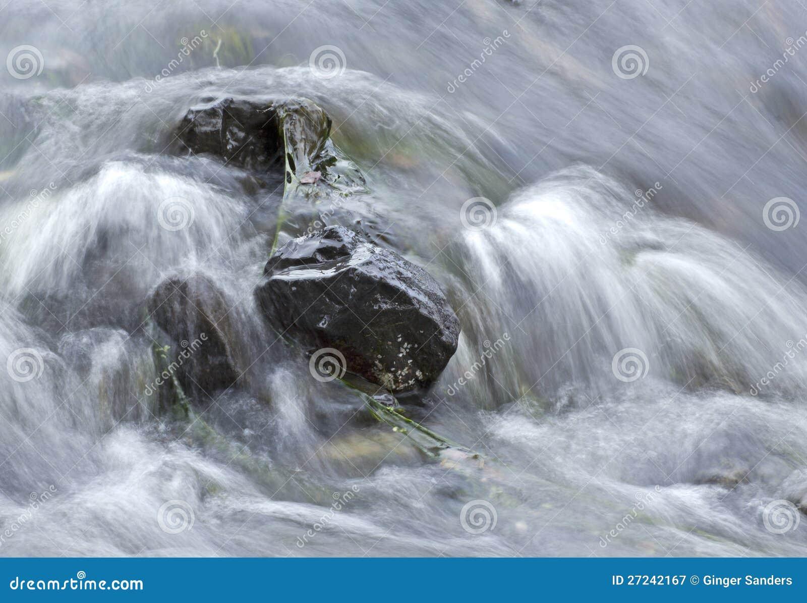 Soft Water Rushing Over Rocks