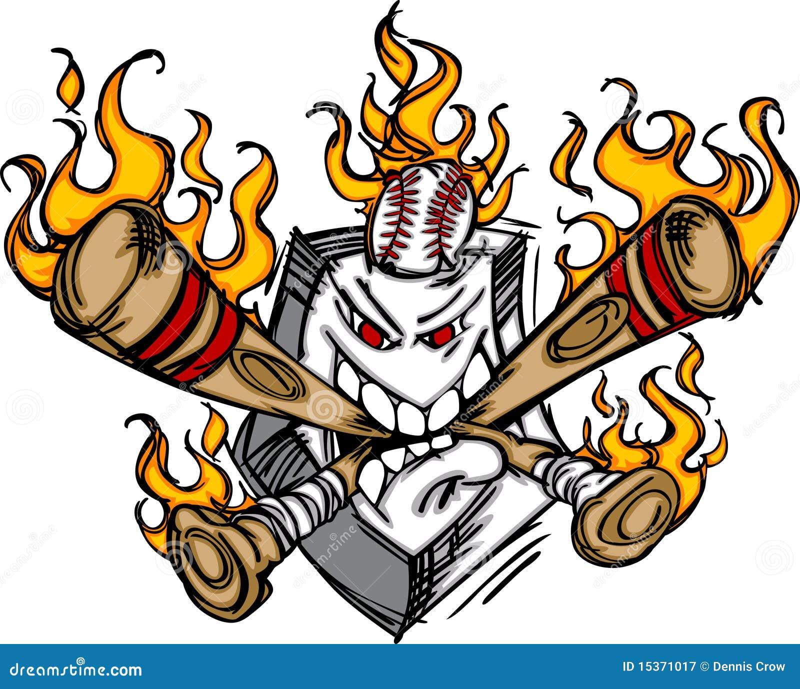 softball baseball plate flaming cartoon logo stock vector rh dreamstime com