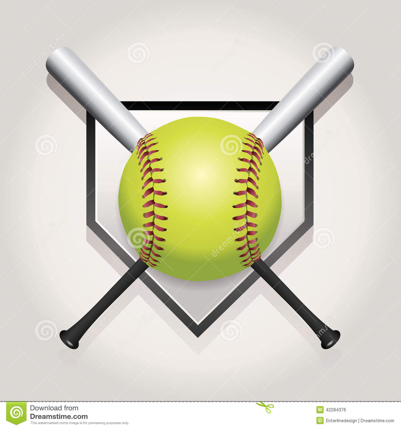 Softball, Bat, And Homeplate Emblem Illustration Stock Vector - Image ...