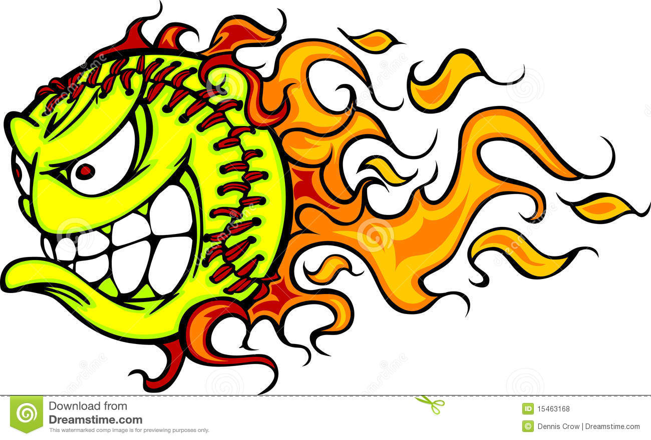 Softball Fastpitch Ball Flaming Face Vector Image Royalty Free Stock ...