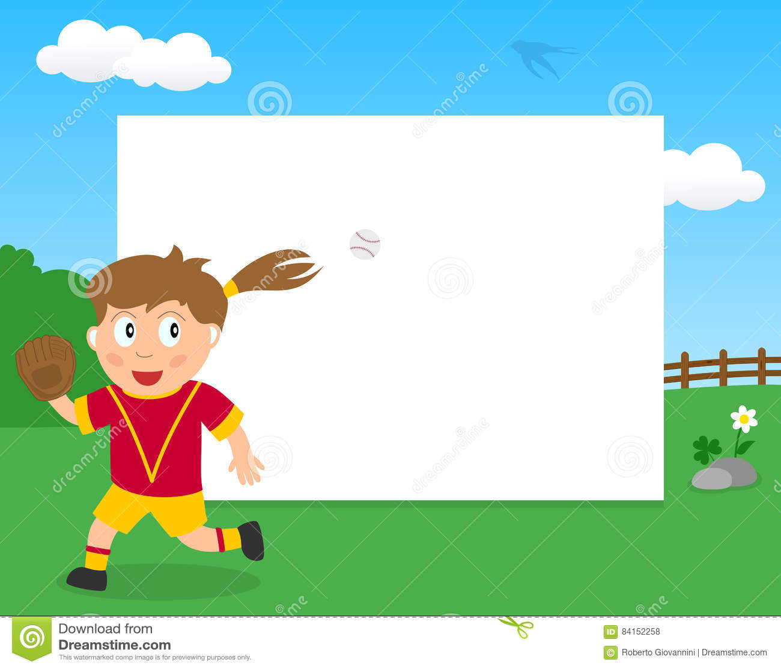Softball-Mädchen Im Park-horizontalen Rahmen Vektor Abbildung ...