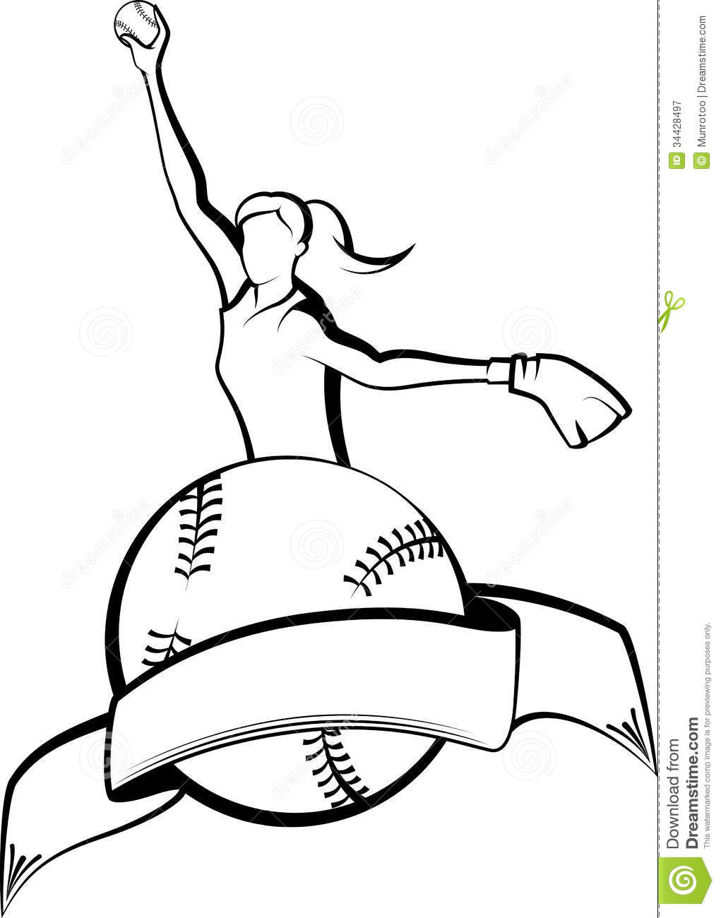 Softball Pitcher With Ball amp Banner Royalty Free Stock