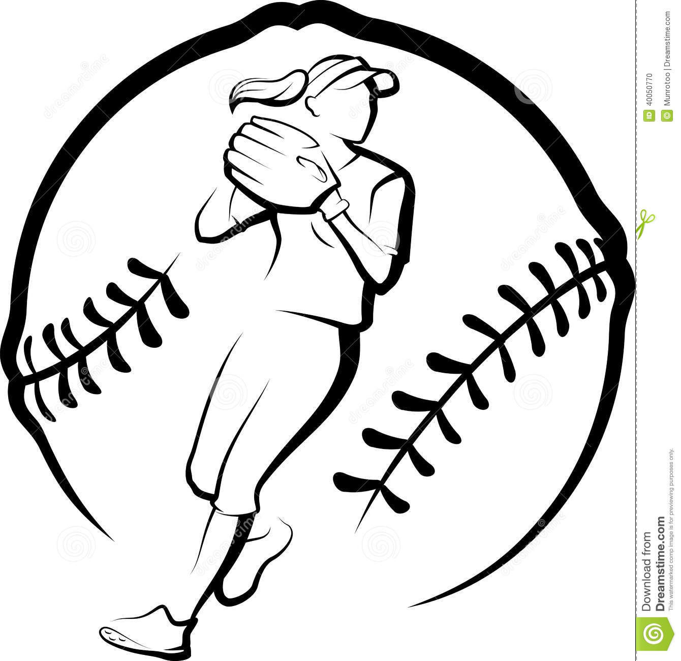 Softball Player Throwing In Stylized Ball Stock Vector - Image ...