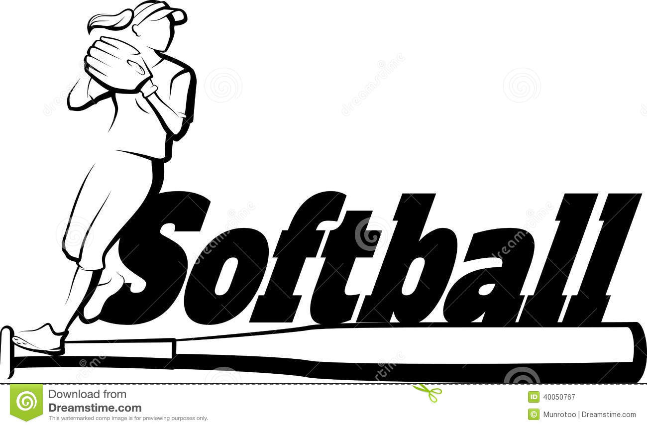 Softball Player Throwing With Text Amp Bat Stock Vector