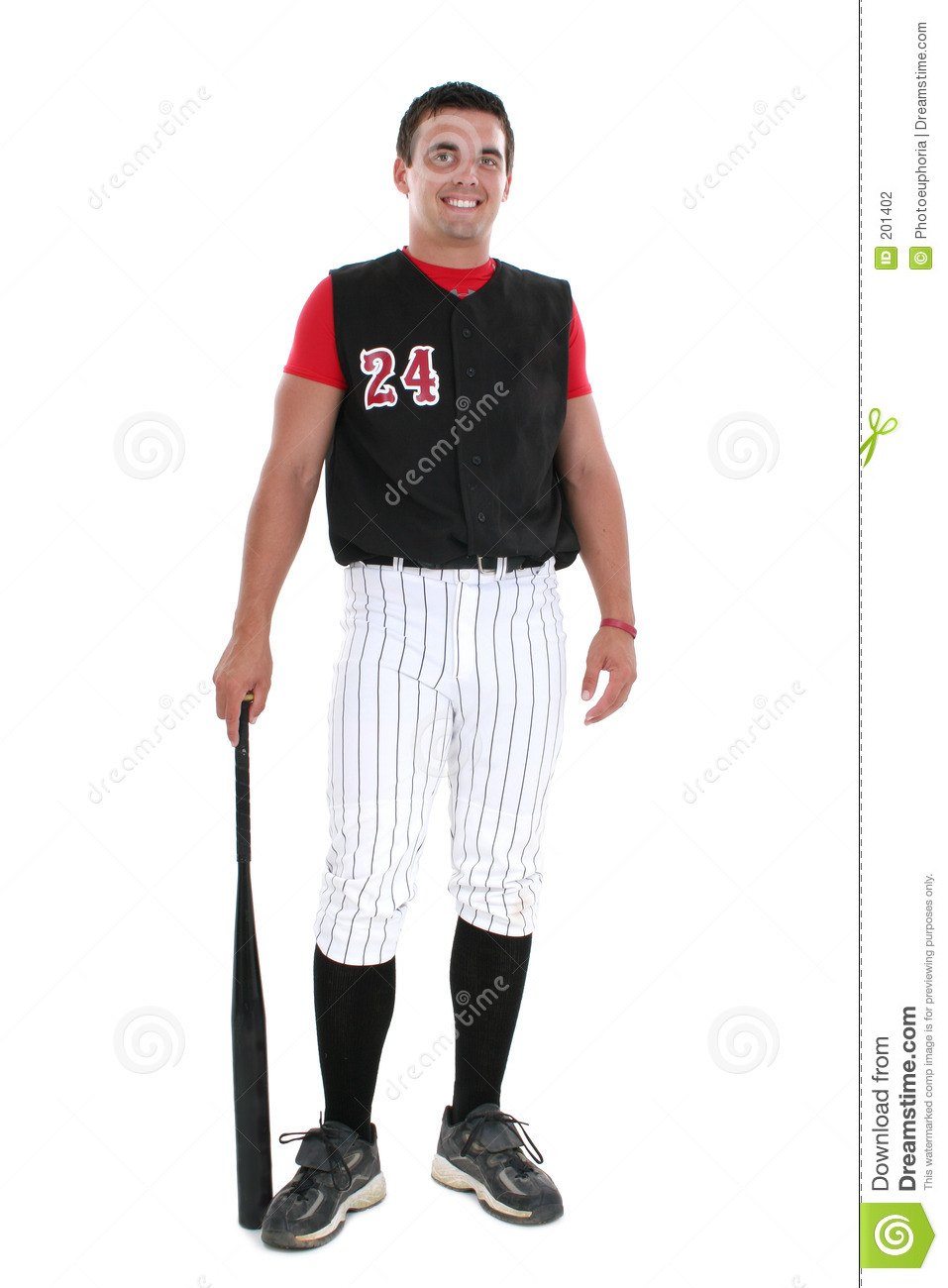 Softball Player In Uniform With Bat Stock Photography - Image: 201402