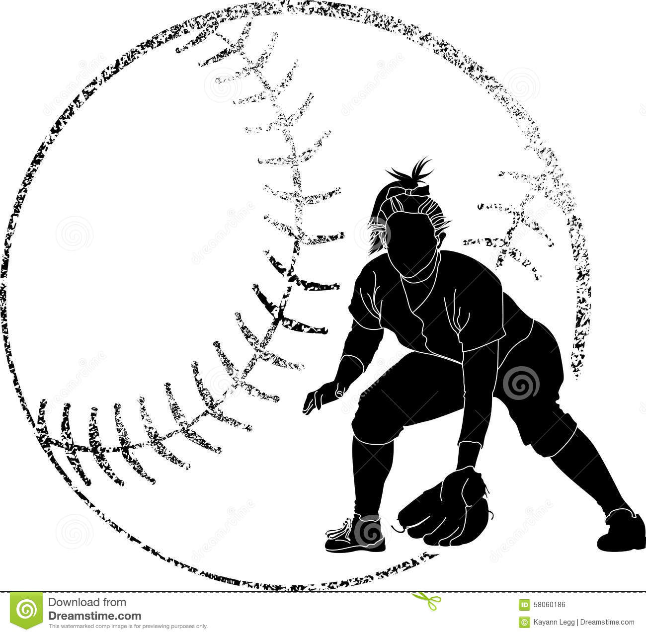 softball silhouette fielder stock vector illustration of