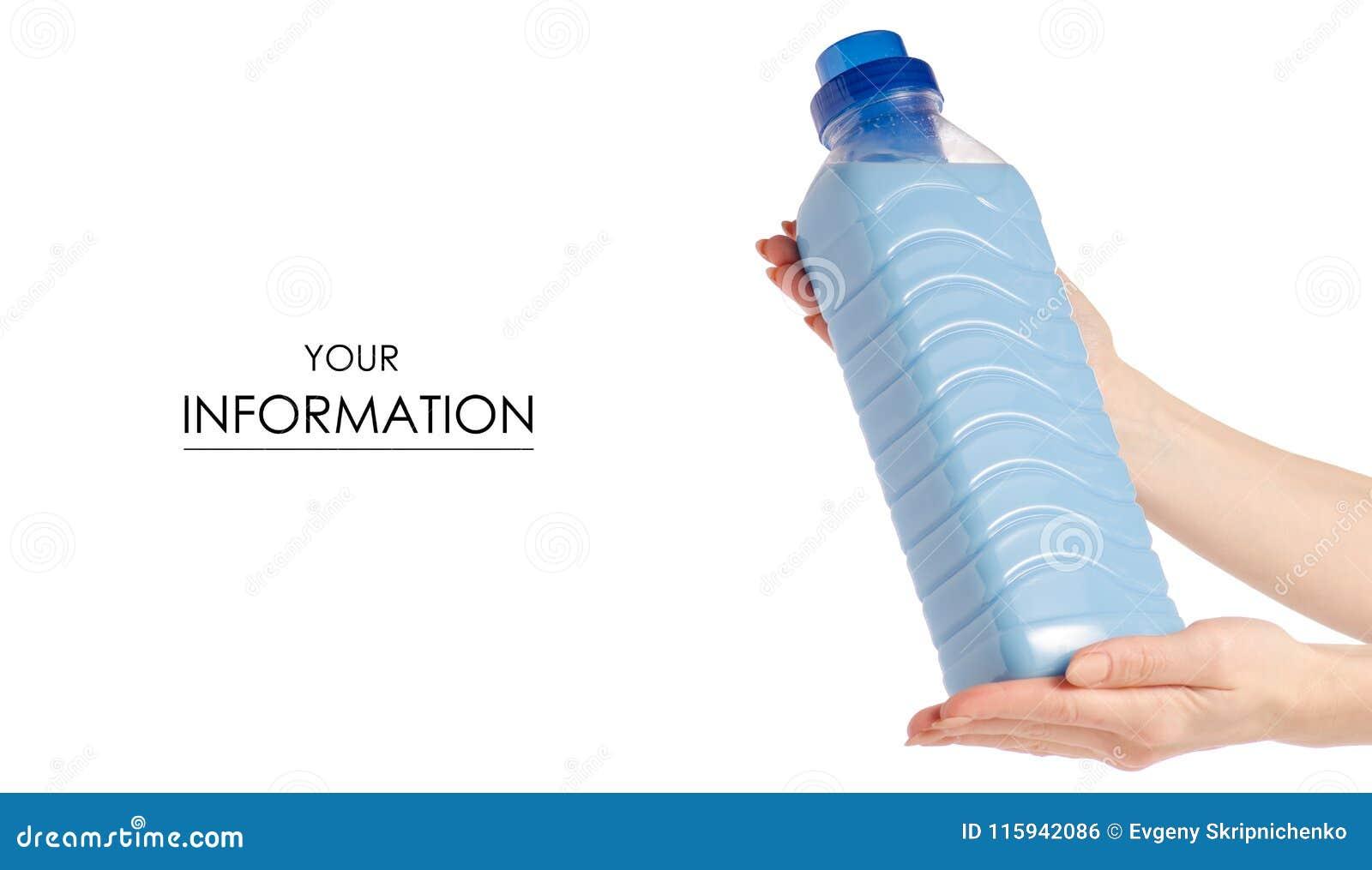 Softener Conditioner In Blue Plastic Bottle In Hand Pattern