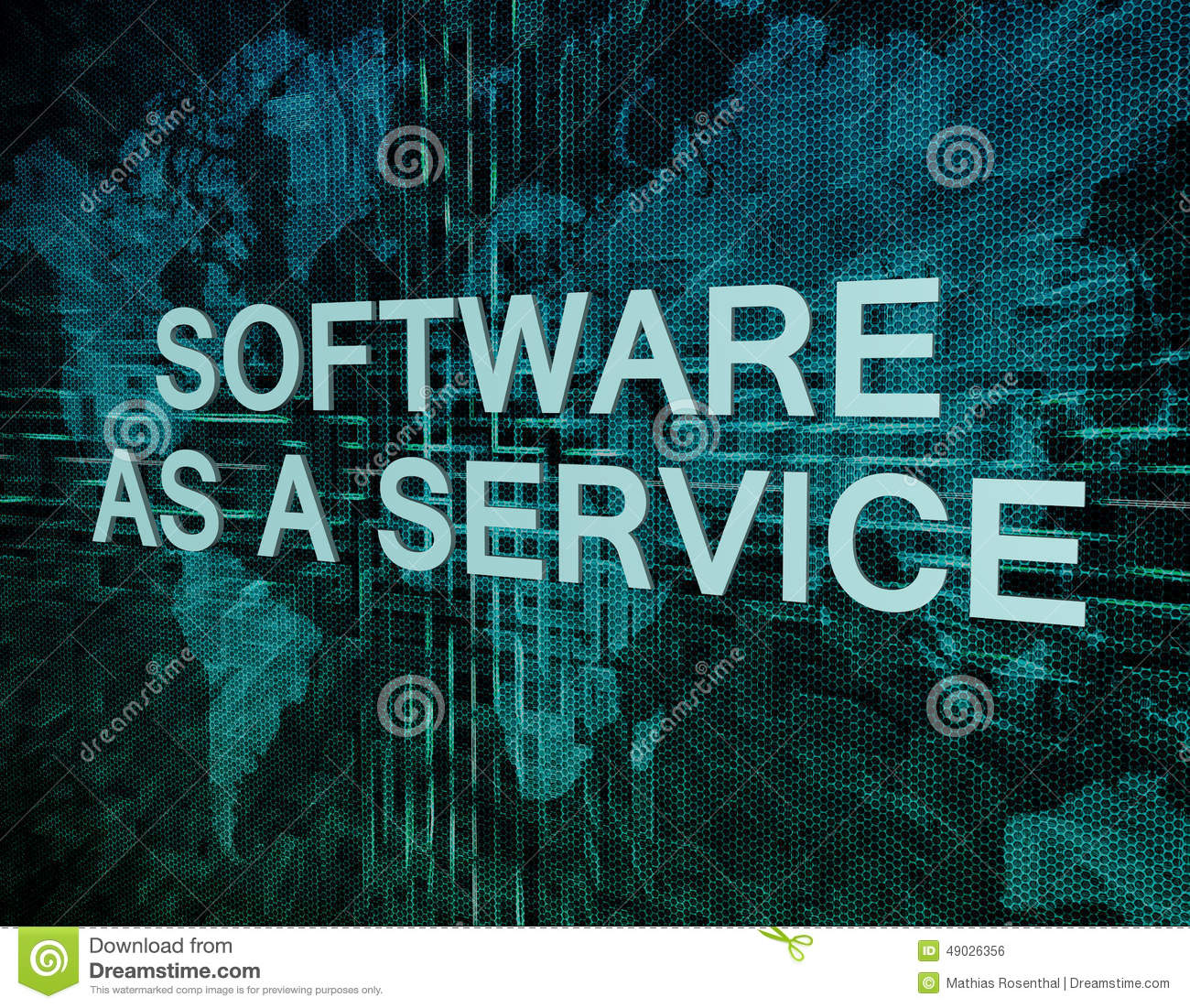 Software as a service stock illustration illustration of software as a service text concept on green digital world map background gumiabroncs Image collections