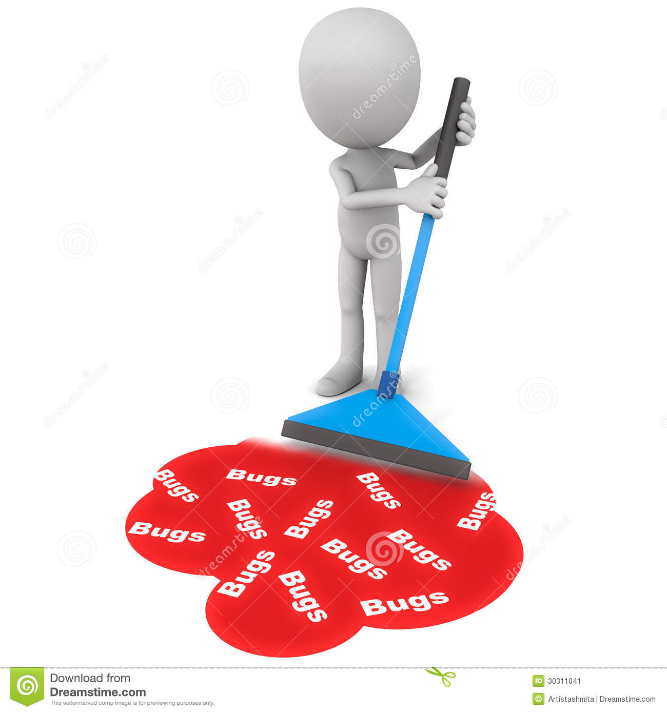 software-debugging-concept-little-d-man-wiping-mopping-up-software ...