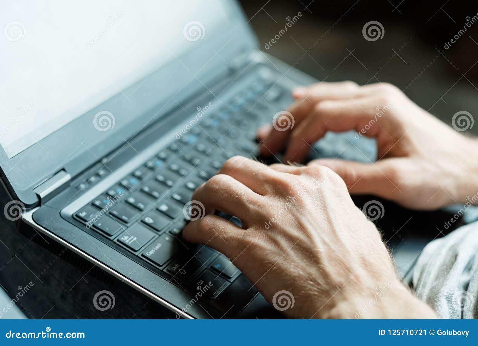 Software developer app designer man hands laptop