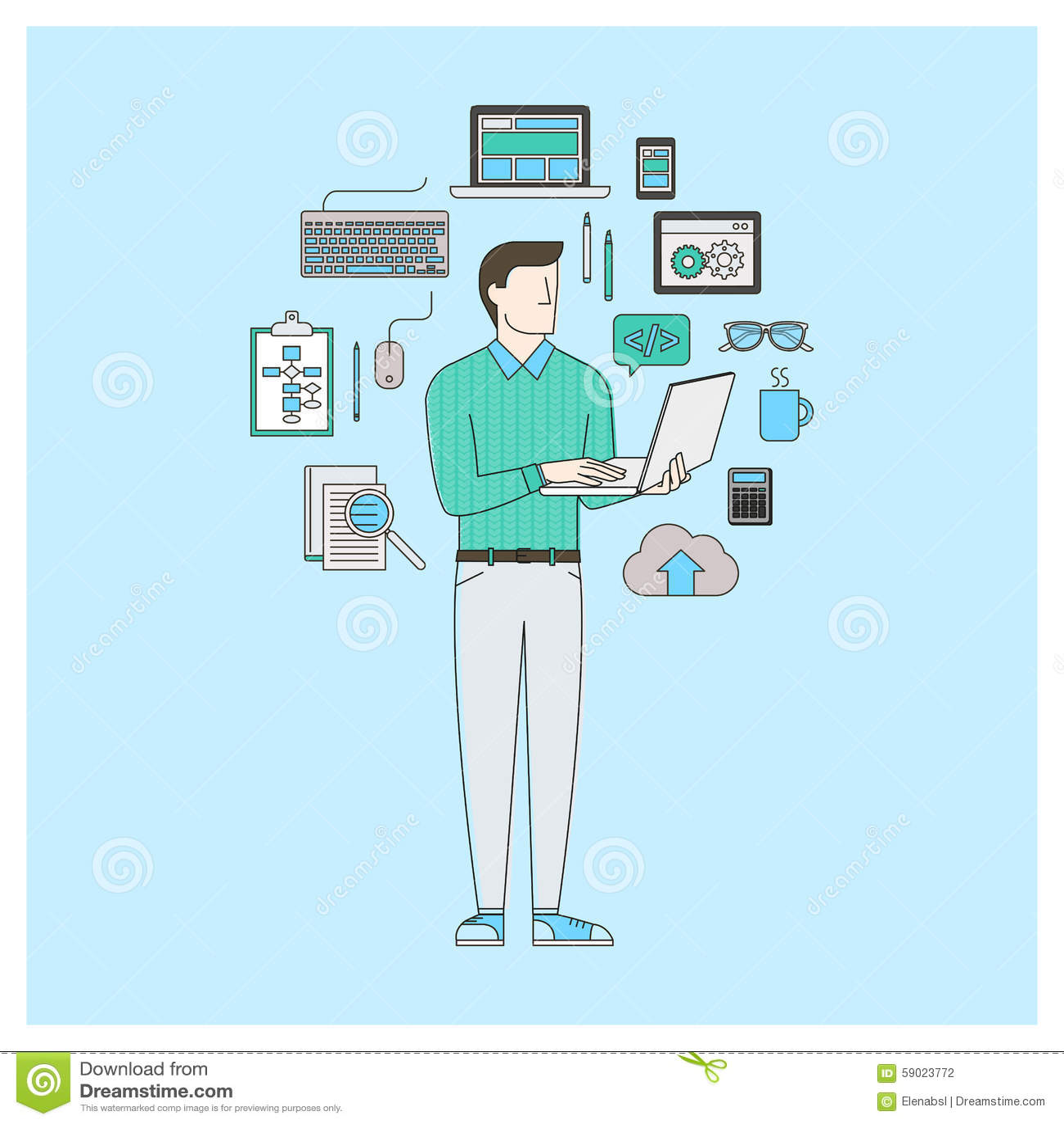 Software developer stock vector image of cloud Vector image software
