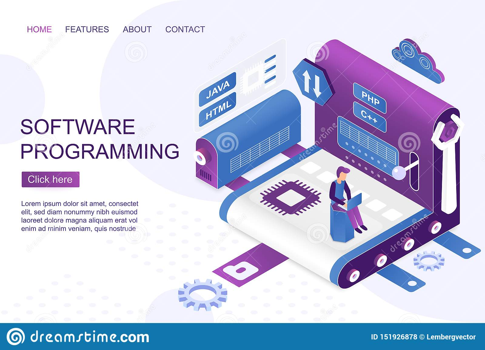 Software Development Isometric Landing Page Vector Template Stock Vector Illustration Of Developer Interface 151926878