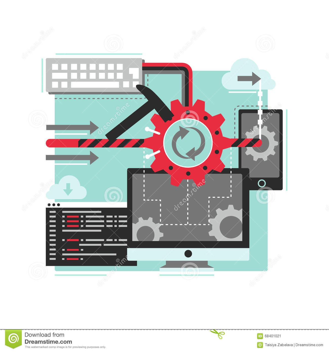Software Development Process Stock Vector - Illustration of design ...