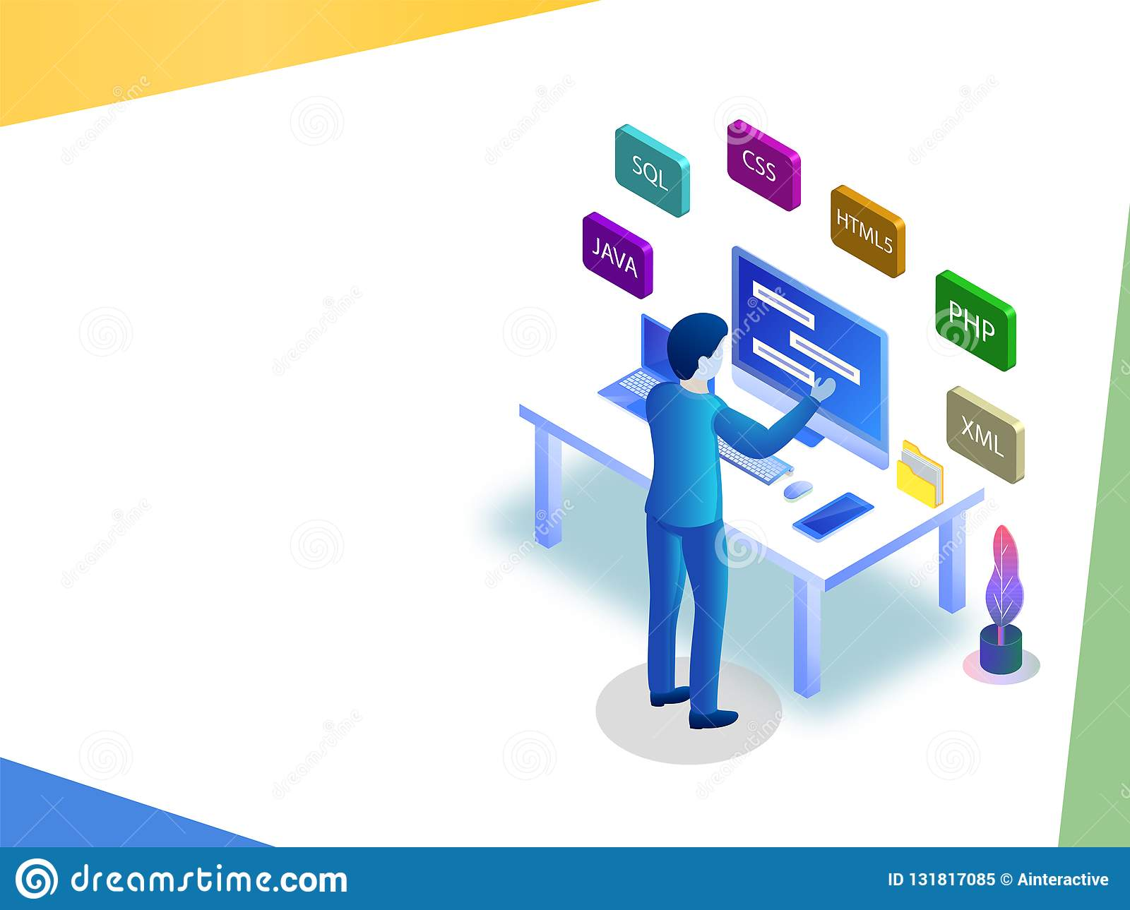Software Development Or Programming Concept Based Isometric