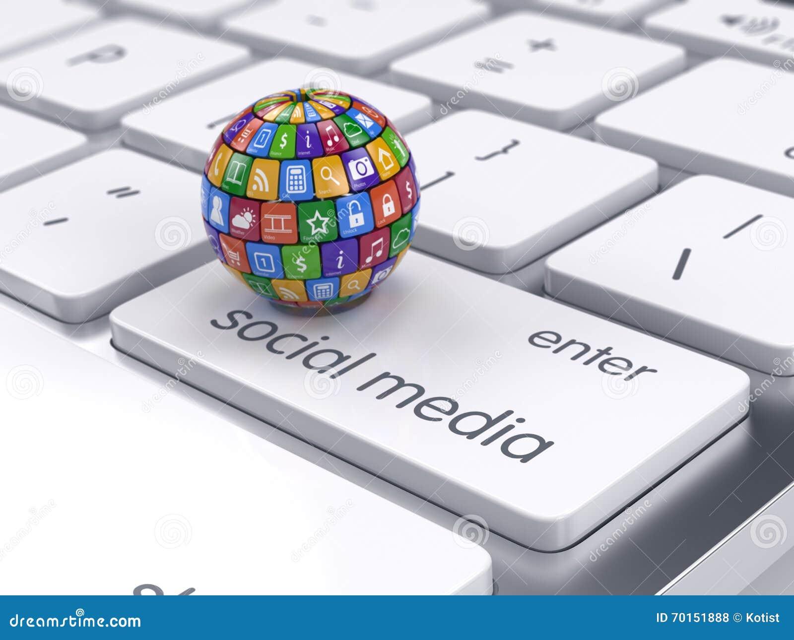 Software en sociaal media concept Pictogrammengebied op de computer