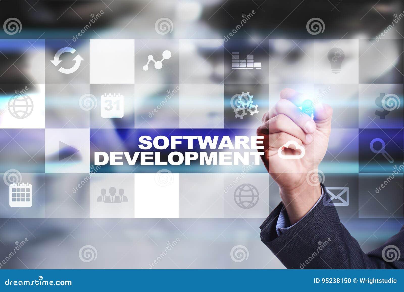Software-ontwikkeling op het virtuele scherm Toepassingen voor zaken programmering
