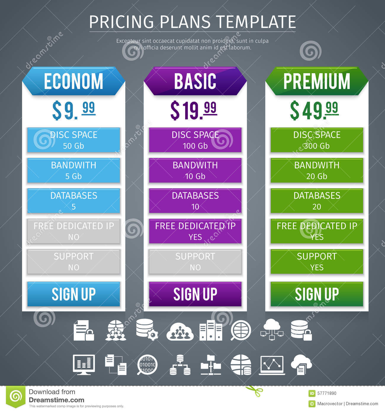 Pricing: Software Pricing Plans Template Stock Vector