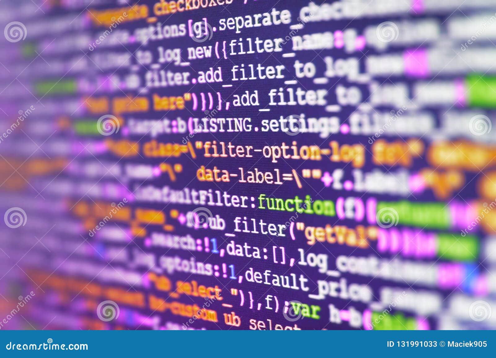 Software-Quellcode Überwachen Sie Nahaufnahme des Funktionsquellcodes Abstrakter Schirm von Software