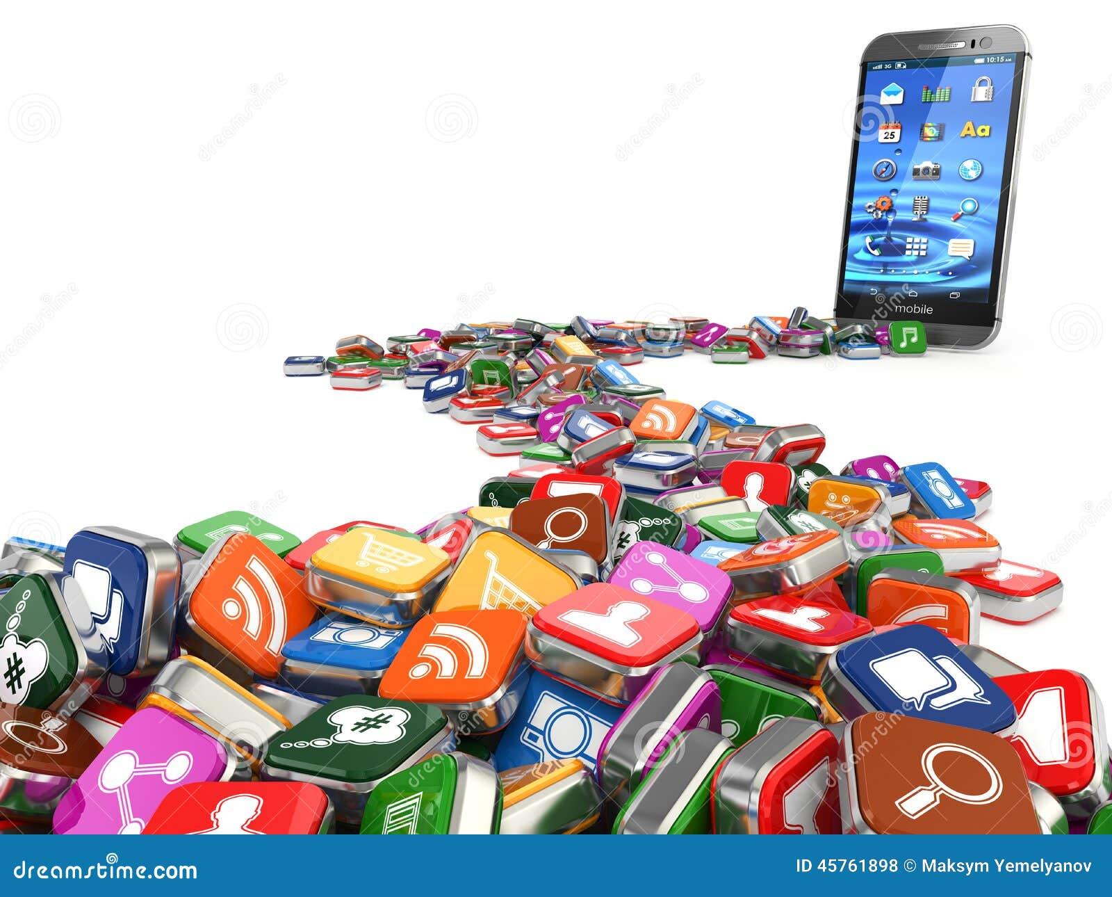 Software Smartphone o fondo delle icone di app del telefono cellulare