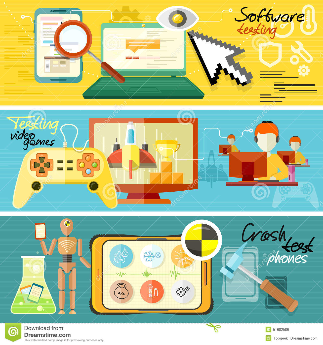 Software Testing, Games And Crash Test Stock Vector - Image: 51682586