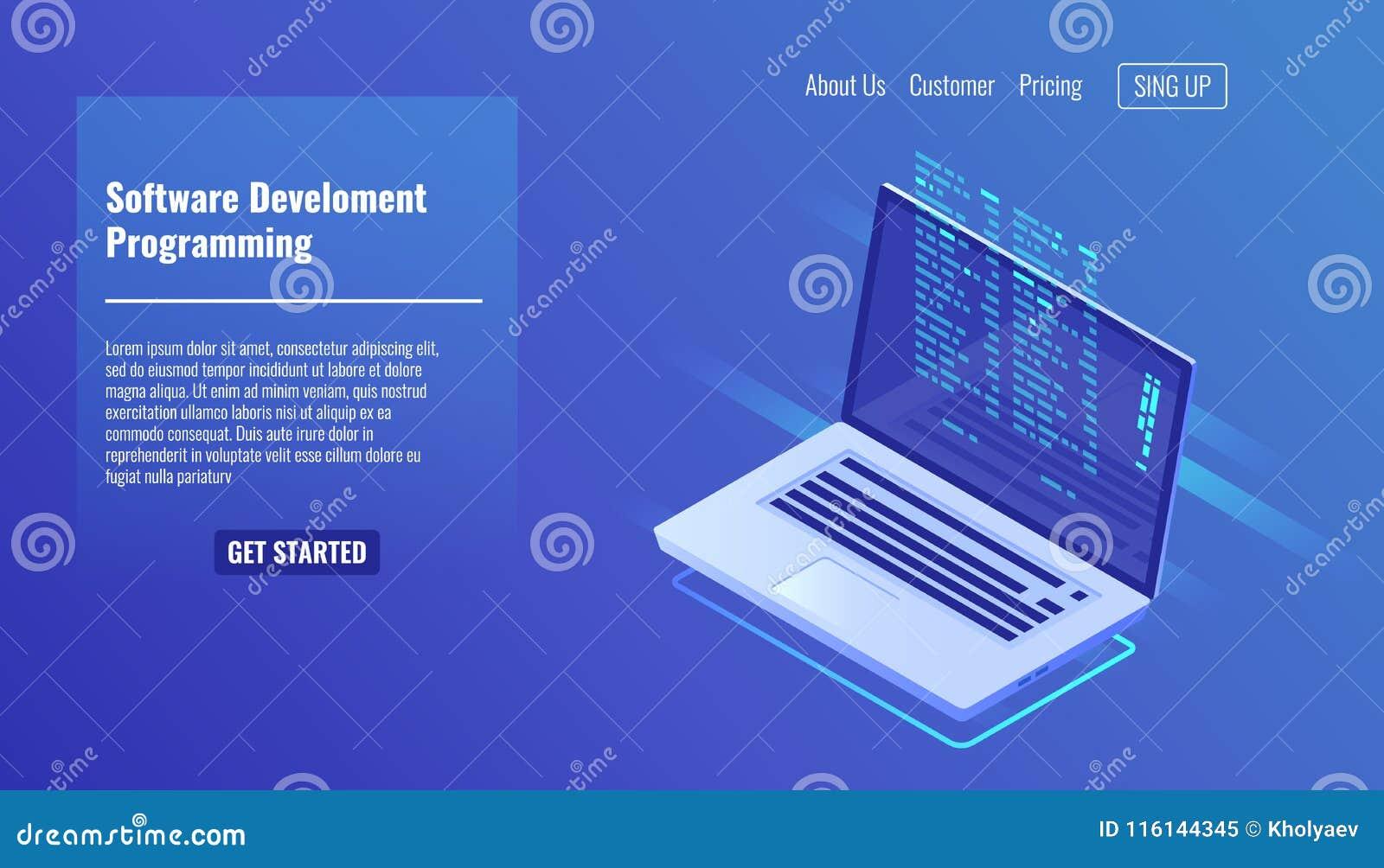 Softwareentwicklung und Programmierung, Programmcode auf Laptopschirm, große Datenverarbeitung, rechnendes isometrisches 3d
