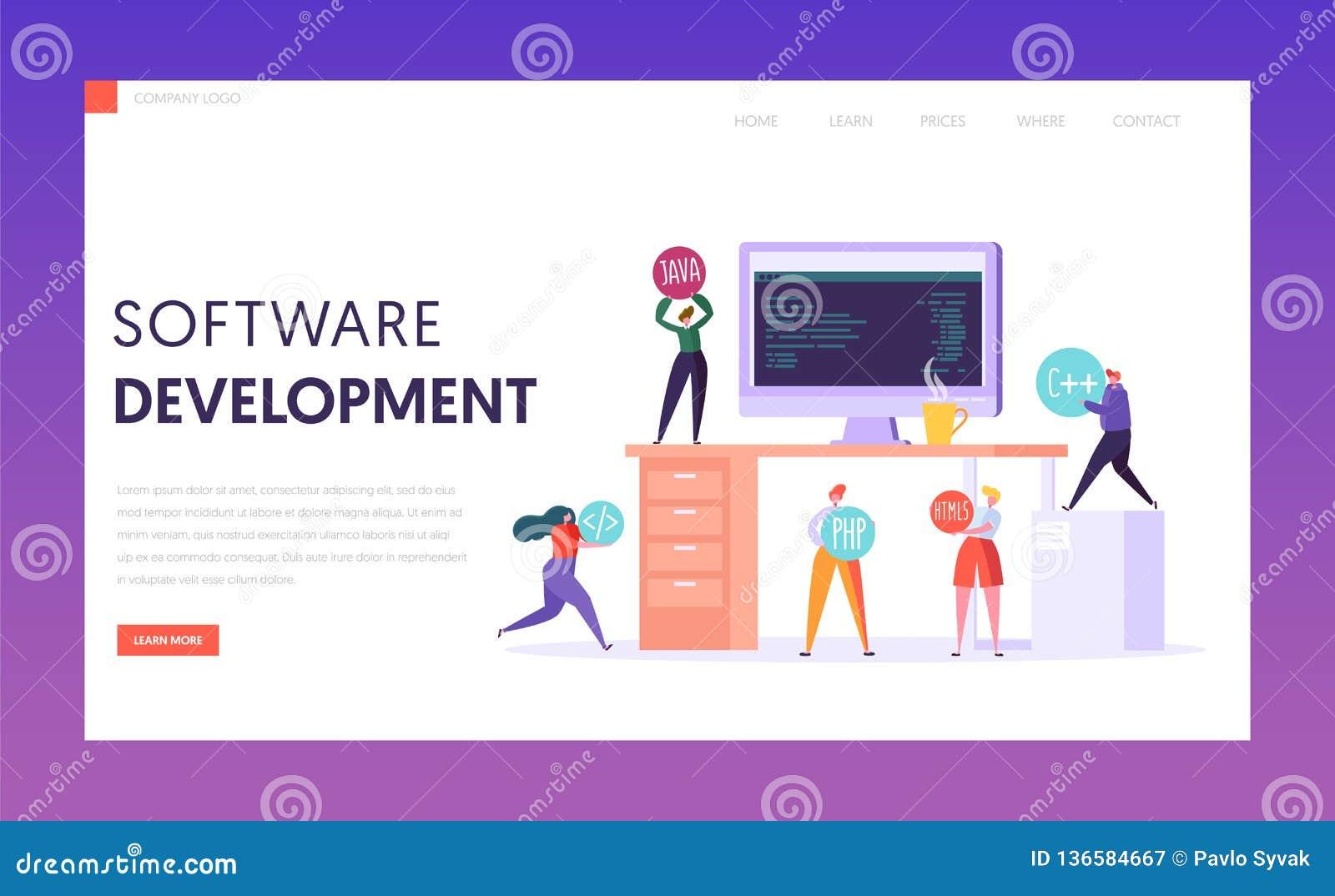 Softwareentwicklungs-Technologie-Teamwork-Landungs-Seite Monitor auf Schreibtisch Berufs-freiberuflich tätiges Team Webdesign