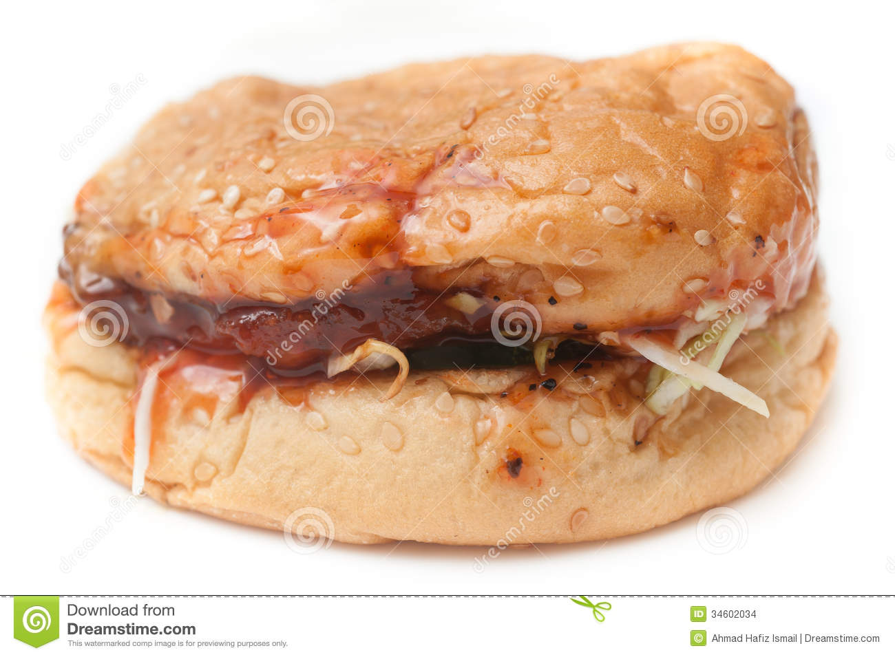 Soggy Unhealthy Homemade Burger Stock Images - Image: 34602034