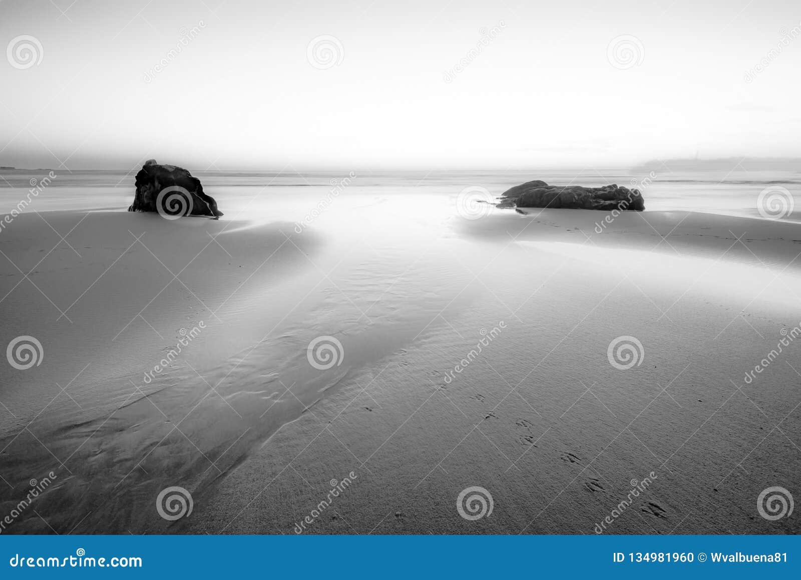Sogno della scena in bianco e nero di vista sul mare
