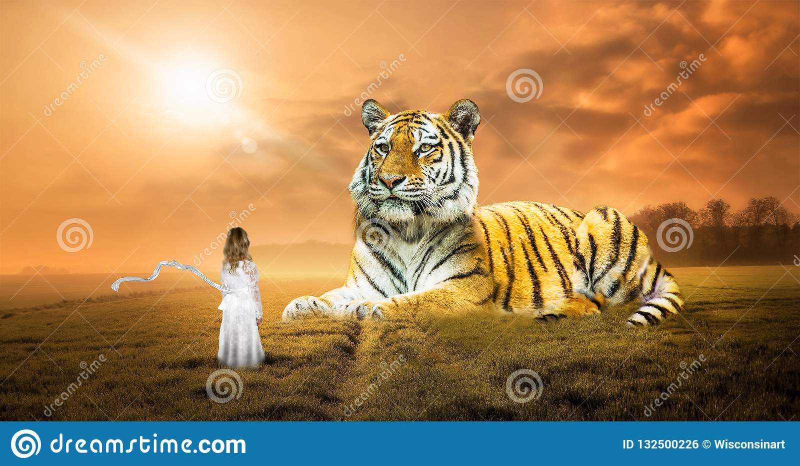 Sogno surreale di fantasia, tigre, natura, ragazza, immaginazione