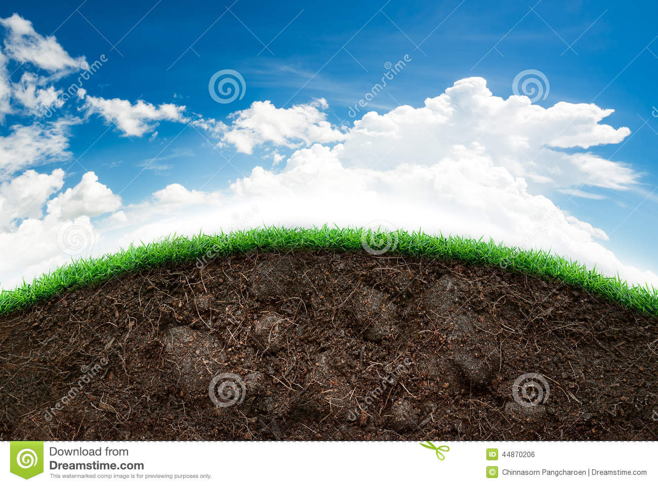 Soil and grass in blue sky stock photo image 44870206 for Soil information in english