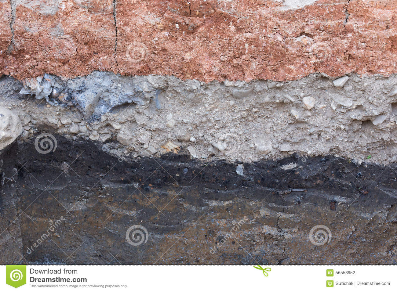 Soil layers in underground earth of science stock photo for Earth soil layers