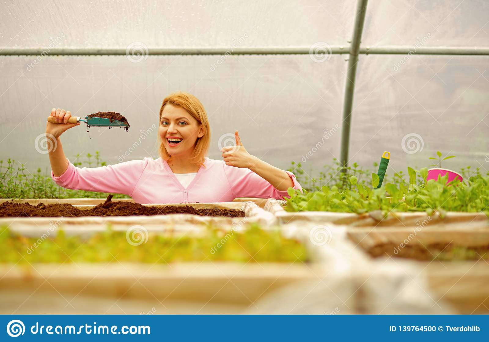 Soil producer. rich soil producer. soil producer industry. woman represent soil producer showing thumb up. working with